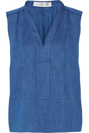 Pleated cotton-chambray top