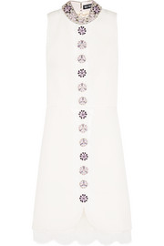 Holly Fulton Embellished lace-trimmed wool-gabardine mini dress