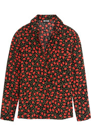 Rose-print silk crepe de chine shirt