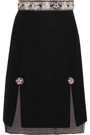 Holly Fulton Embellished wool-blend bouclé and silk-organza skirt