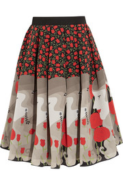 Holly Fulton Printed silk crepe de chine skirt
