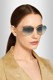Matt aviator-style metal sunglasses