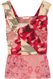 Lily floral-print organza and fil coup� top