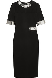 Faux leather-trimmed stretch-crepe dress
