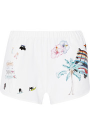 + Ç Mira Mikati printed stretch-crepe shorts
