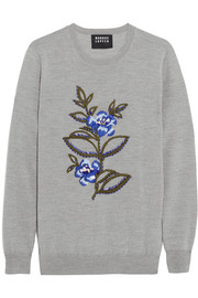 Embellished merino wool sweater