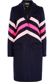 Chevron-paneled wool-blend coat