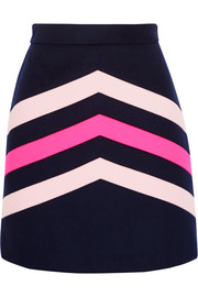 Chevron-paneled wool-blend mini skirt