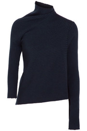 Asymmetric ribbed merino wool turtleneck sweater