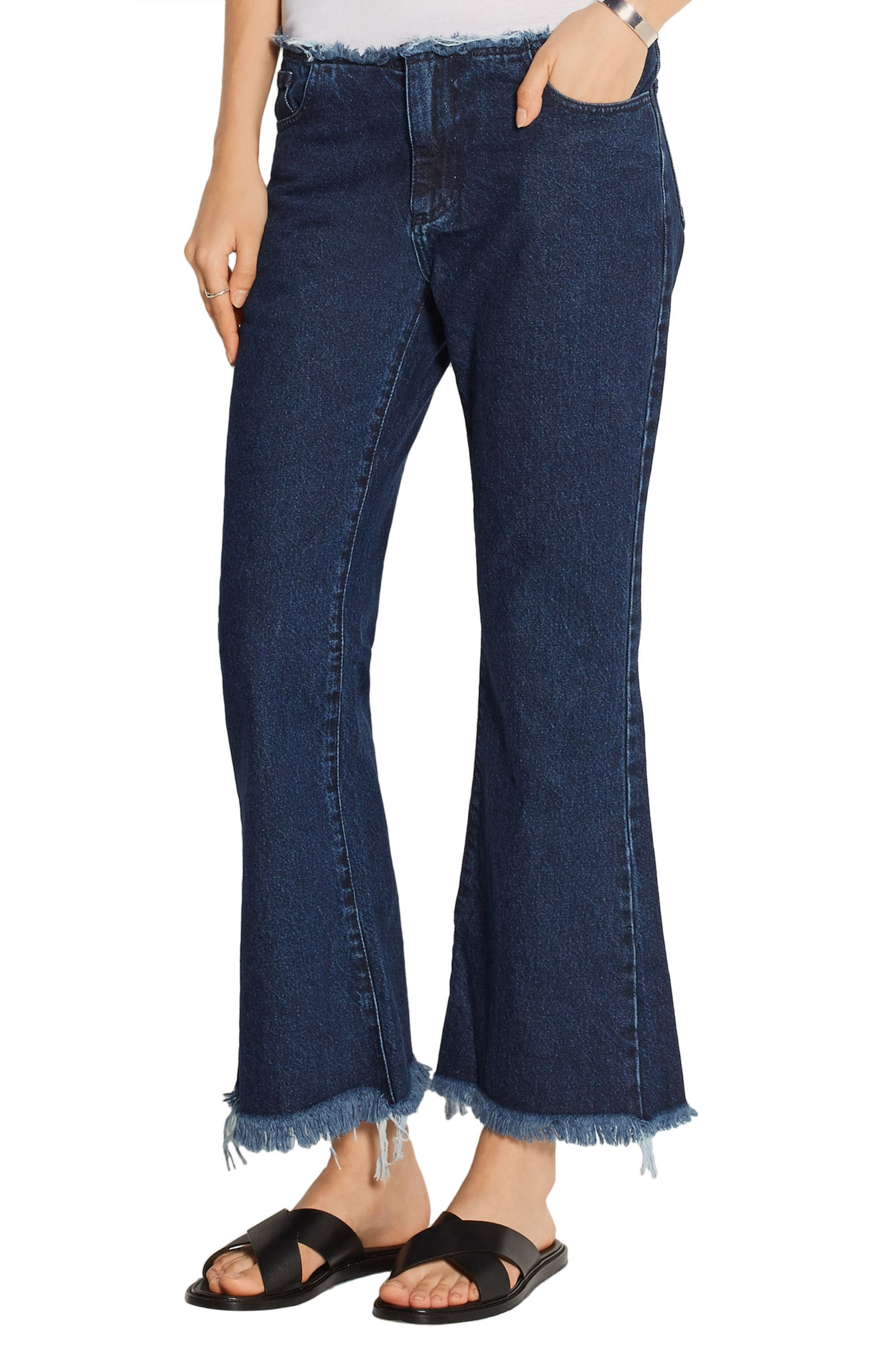 Marques' Almeida Cropped frayed low-rise flared jeans