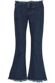 Cropped frayed low-rise flared jeans