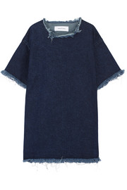Oversized frayed denim mini dress