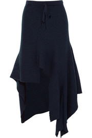 Asymmetric ribbed merino wool skirt