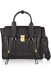 The Pashli medium textured-leather trapeze bag