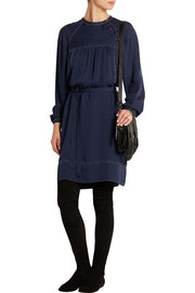 Adele studded silk crepe de chine dress