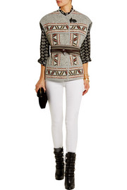 Diva oversized embroidered wool-blend vest