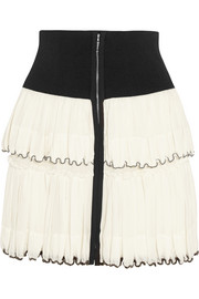 Roscoe beaded tiered cotton-voile mini skirt