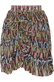 Poyle printed silk-georgette mini skirt