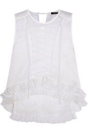 Vienna pintucked lace-up silk-blend organza top