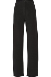 Wool and cotton-blend twill wide-leg pants