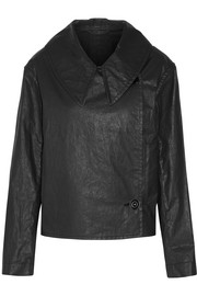 Double-breasted coated cotton-blend twill jacket