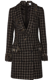Embellished metallic tweed mini dress