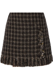 Embellished metallic tweed mini skirt