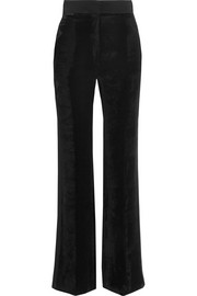Silk satin-trimmed velvet flared pants