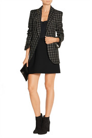 Embellished metallic tweed blazer