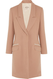 Leather-trimmed wool and cashmere-blend coat