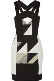 Altamira cutout paneled crepe and tweed mini dress