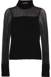 Paneled stretch-knit turtleneck top