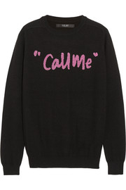 Call Me intarsia merino wool-blend sweater