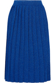 Pleated metallic knitted skirt