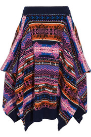 Asymmetric fair isle wool skirt