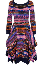 Asymmetric fair isle wool dress