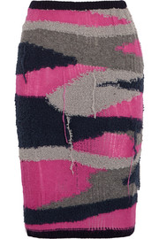 Distressed knitted pencil skirt