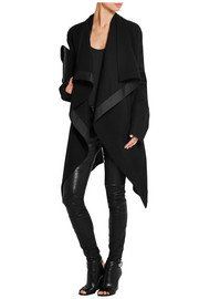 Draped satin-trimmed wool-blend coat