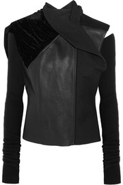 Rick Owens Sphinx leather, velvet and wool biker jacket