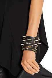 Studded bone and leather cuff
