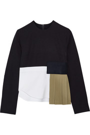 Paneled wool-crepe, wool-twill and stretch-cotton poplin top