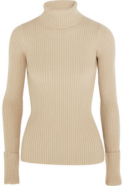 Ribbed stretch-knit turtleneck sweater