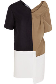 Paneled felted wool, stretch cotton-poplin and crepe mini dress