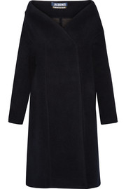 Off-the-shoulder bonded wool-blend coat