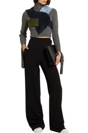 Patchwork cropped cotton-blend corduroy and wool-felt top