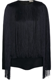 Fringed stretch-jersey bodysuit