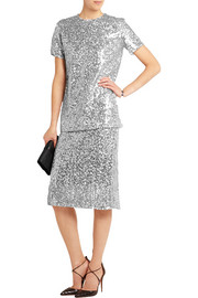 Sequined voile skirt