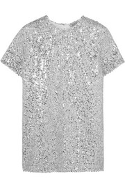 Sequined voile top