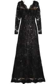 Marchesa Notte Sequin-embellished embroidered tulle gown