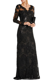 Sequin-embellished embroidered tulle gown